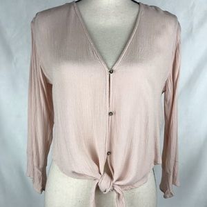 Billabong Top Tie Front Tulip Sleeve Blush Small